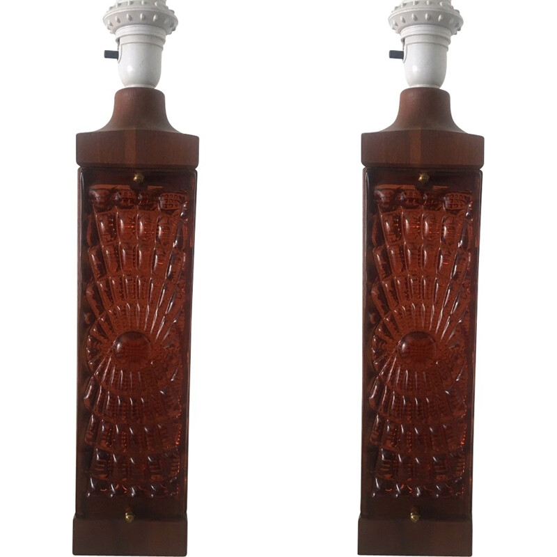 Set of 2 vintage lamps in teak and amber glass - 1960s