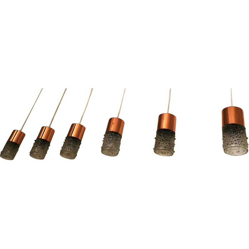 Set of 6 Pendant lamps in Copper and Glass by Doria - 1960s