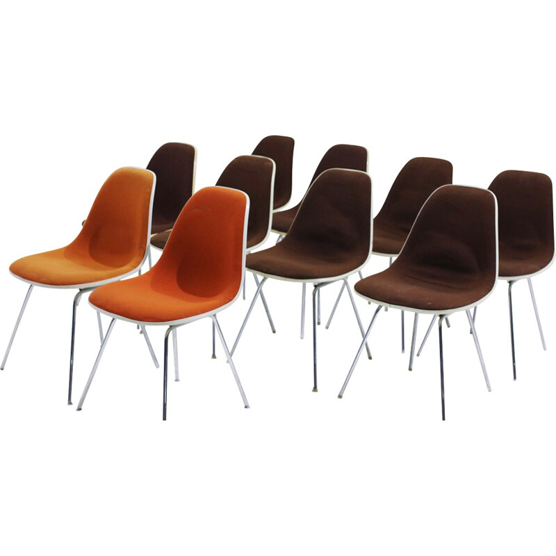 "Set of 10 vintage ""DSX"" Chairs by Charles & Ray Eames for Herman Miller - 1960s"