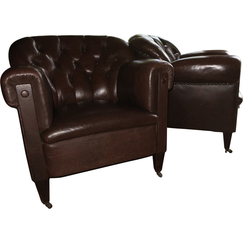 """Set of 2 vintage """"Club"""" armchairs  in brown leather - 1930s"""