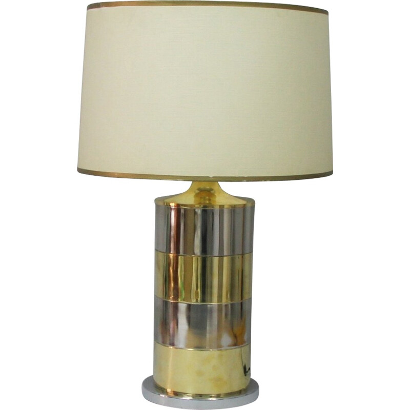 Vintage italian table lamp in brass and chromed metal - 1970