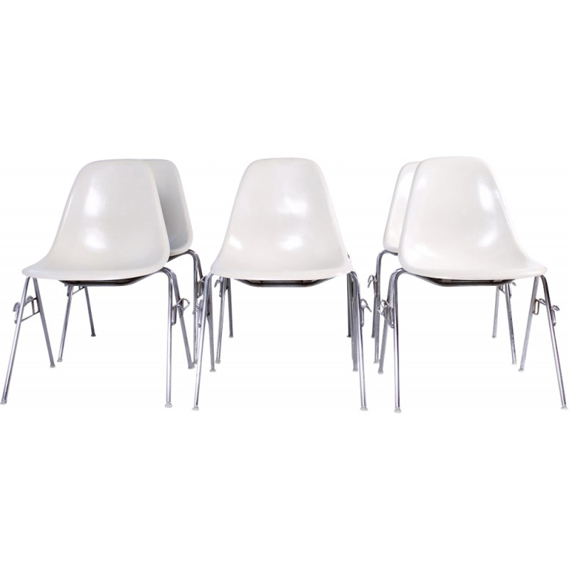Set of 6 vintage DSS fiberglass chairs by Charles & Ray Eames for Herman Miller - 1970s