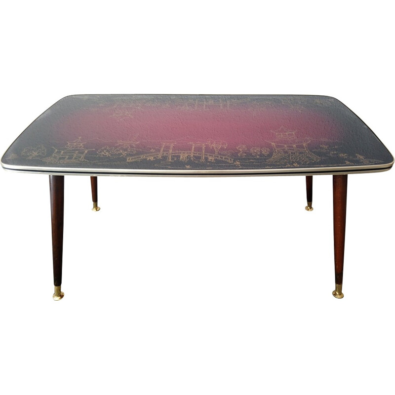 Vintage coffee table with glass top - 1950s