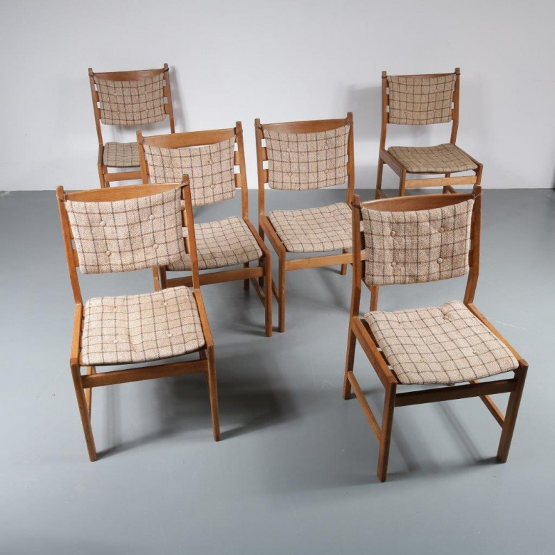 Vintage Set Of 6 Dining Chairs In Oak With Cushions 1950s