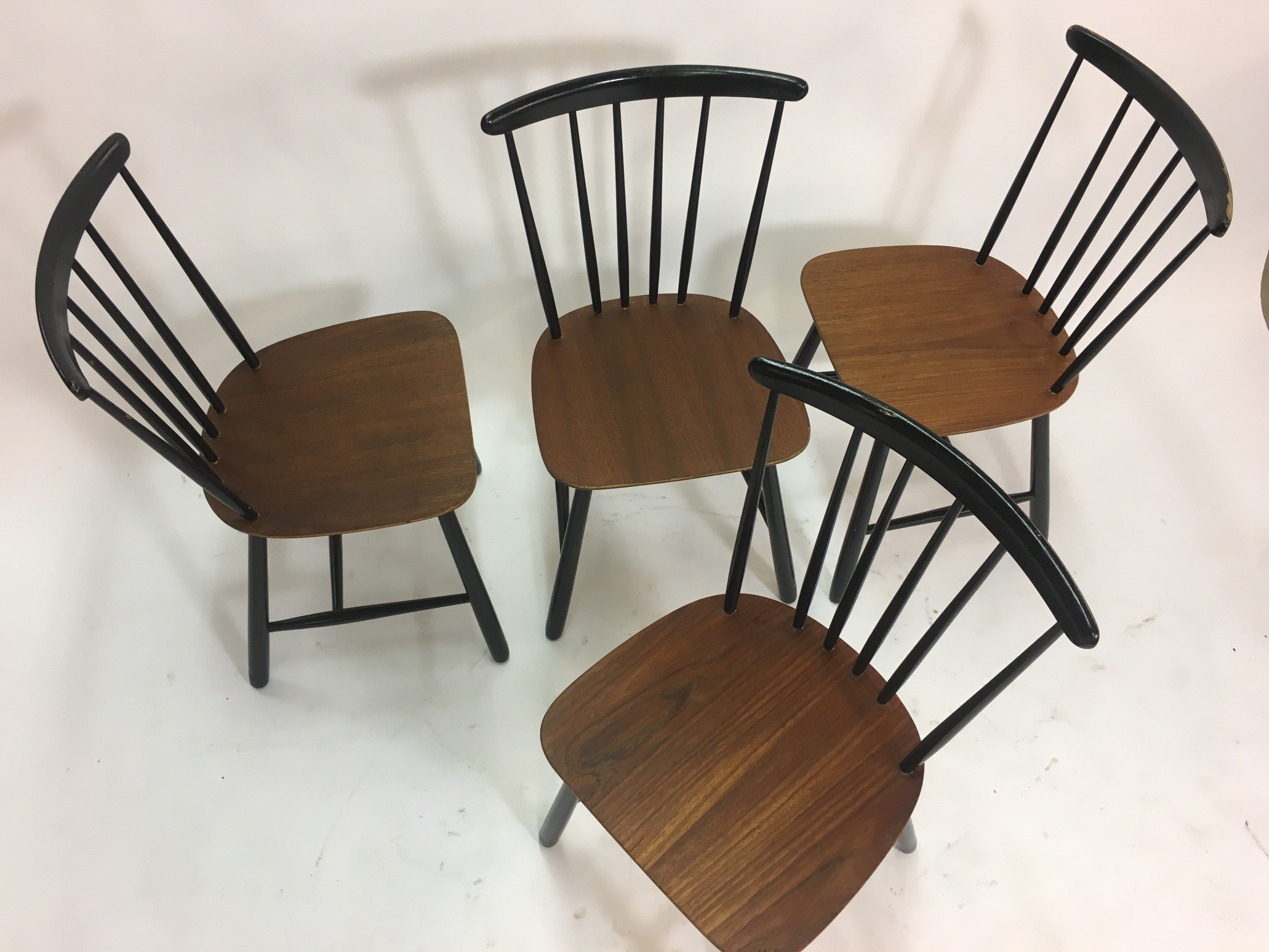 Set of 4 Vintage Scandinavian Spindle Back Dining Chairs ...