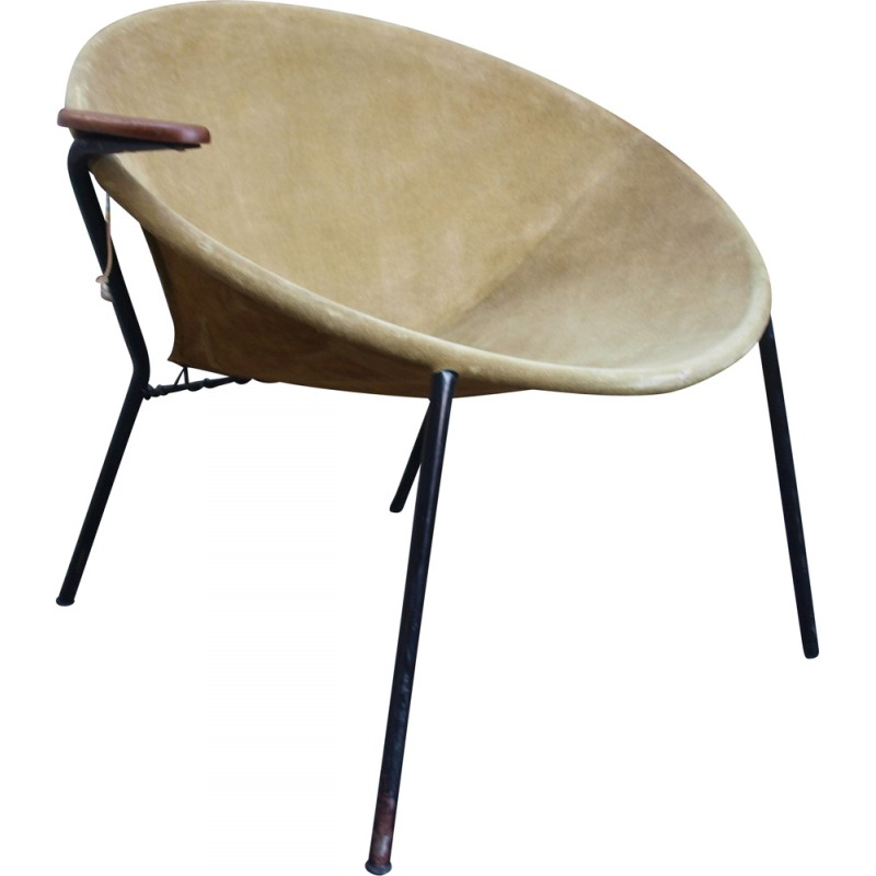 Balloon Armchair In Leather And Metal, Hans OLSEN   1960s