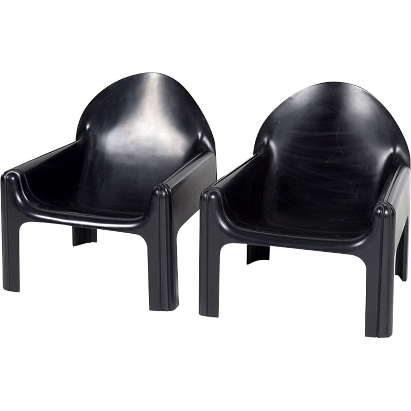 "Set of 2 Vintage Black ""Model 4794"" Lounge Chairs by Gae Aulenti for Kartell - 1970s"
