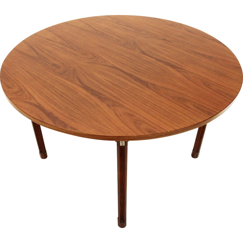 Round Wood & Aluminum Table by Georges Coslin for 3V Arredamenti - 1960s