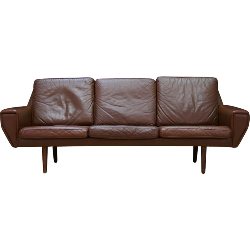 Vintage Danish 3-seater sofa in leather - 1960s