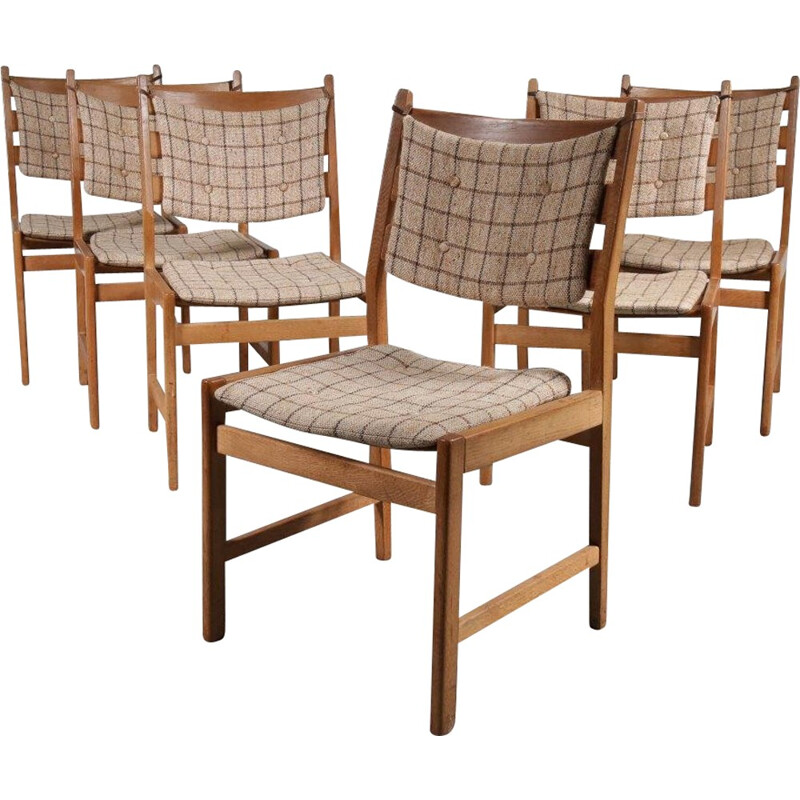 Vintage set of 6 dining chairs in oak with cushions - 1950s