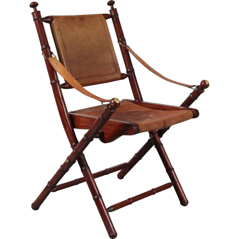 Vintage leather folding chair - 1970s