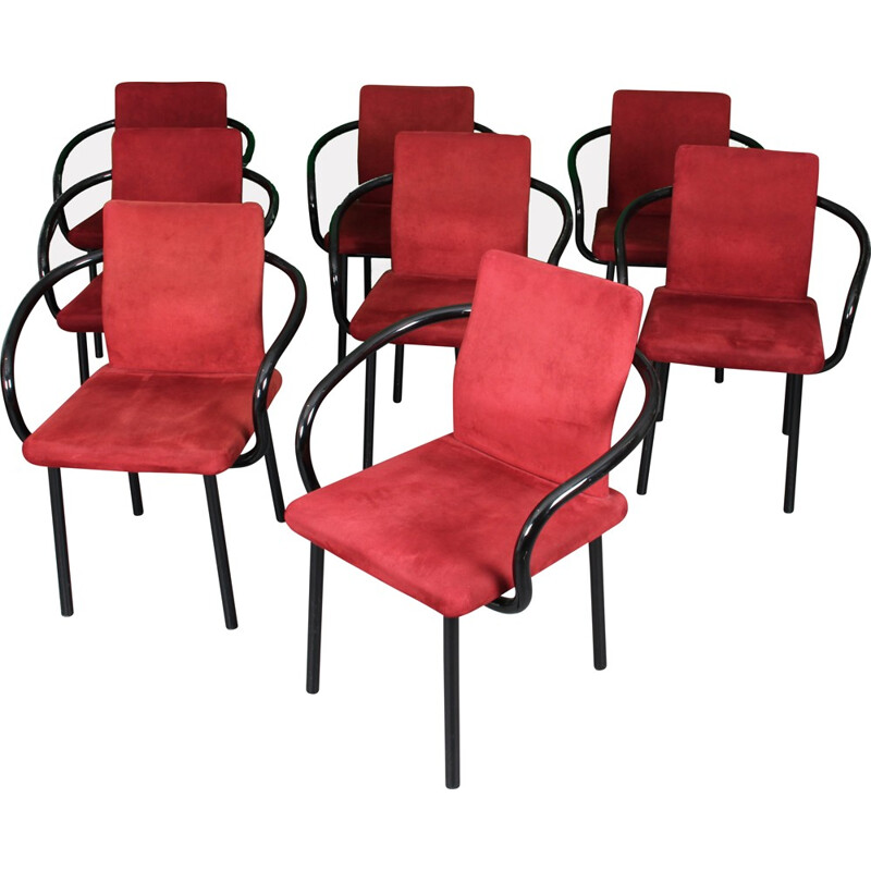 Set of 8 vintage Mandarin Chairs by Sottsass - 1980s