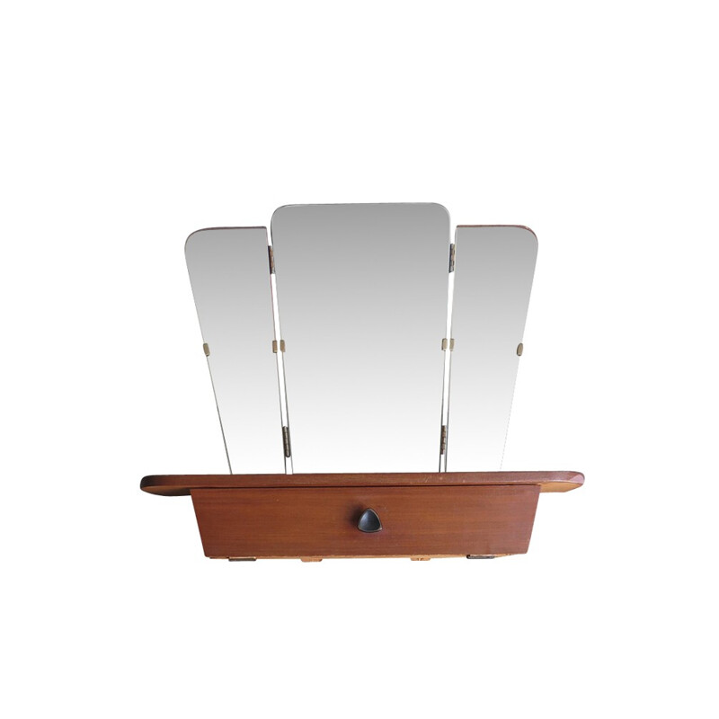 Three parts vintage foldable mirror with shelf and drawer - 1960s
