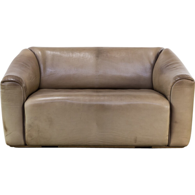 """""""DS47"""" 2-seater sofa in leather by DeSede - 1970s"""