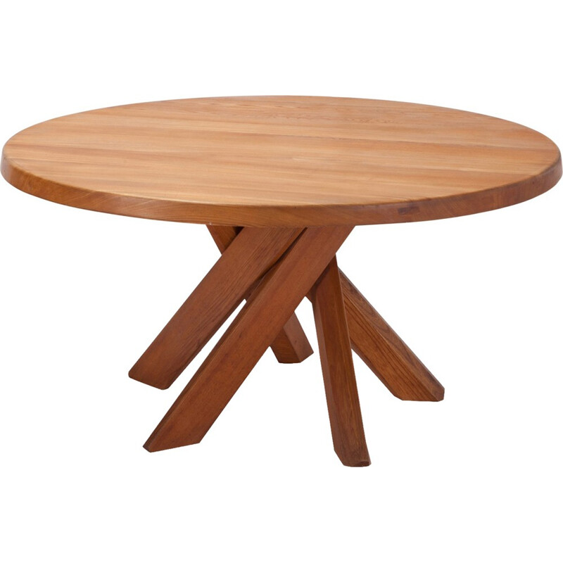 Vintage Round Dining Table In Solid French Elm by Pierre Chapo - 1960s