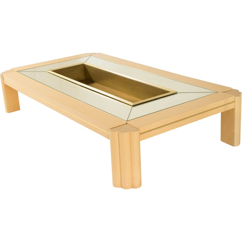 Vintage coffee table lacquered in brass by Alain Delon - 1970s