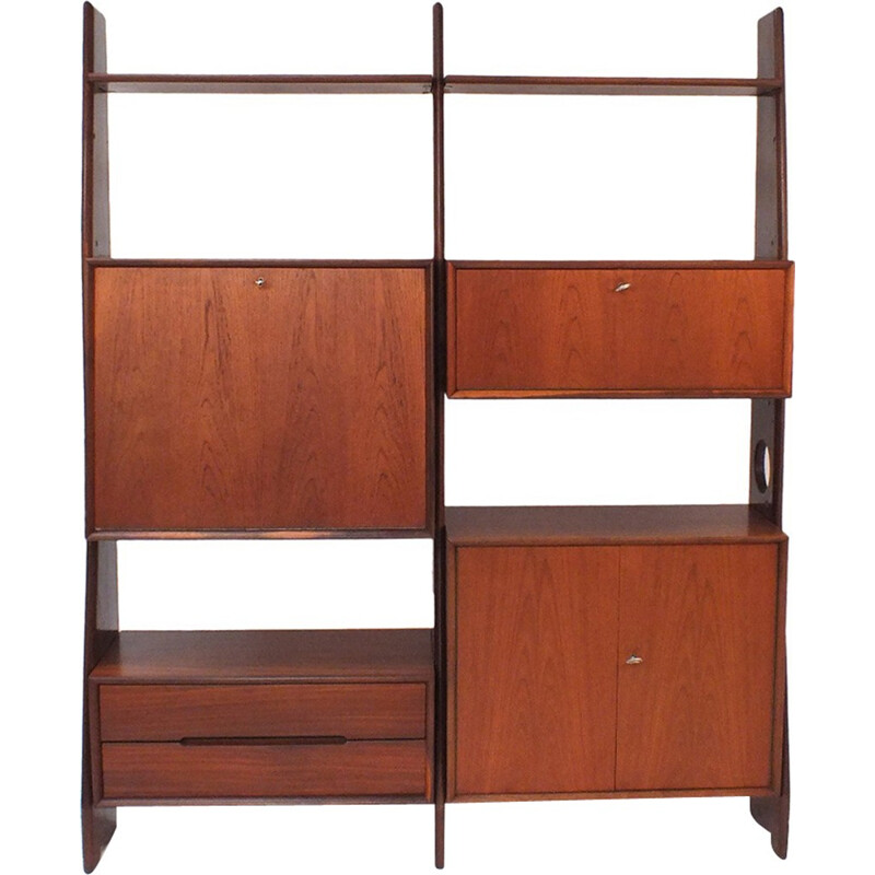 Vintage wall system in teak with 3 uprights - 1960s