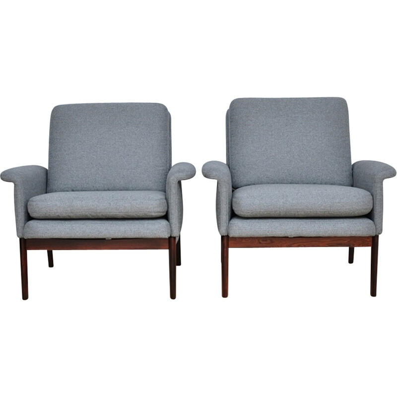 "Pair of grey ""Jupiter"" Armchairs by Finn Juhl for France & Søn - 1960s"