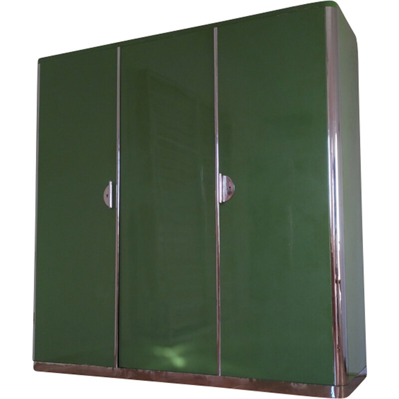 Vintage green and chromed cabinet by Rudolf Vichr - 1930s