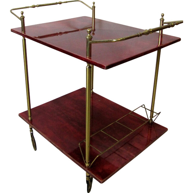 Vintage italian bar trolley by Aldo Tura - 1960s