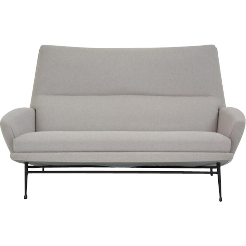 Vintage grey 2 seater sofa by Guy Besnard - 1960s