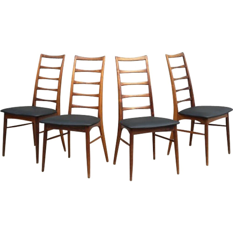 Set of 4 Liz Rosewood Chairs by Niels Koefoed - 1960s