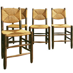 Set of 4 chairs in solid beechwood and mulching, Charlotte PERRIAND - 1950s