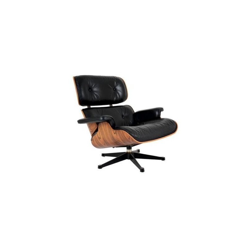 Vintage black lounge chair and rosewood by Charles Eames for Herman Miller - 1970s