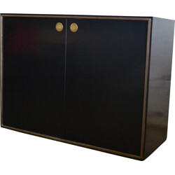 Small sideboard in black laminated and brass, Willy RIZZO - 1970s