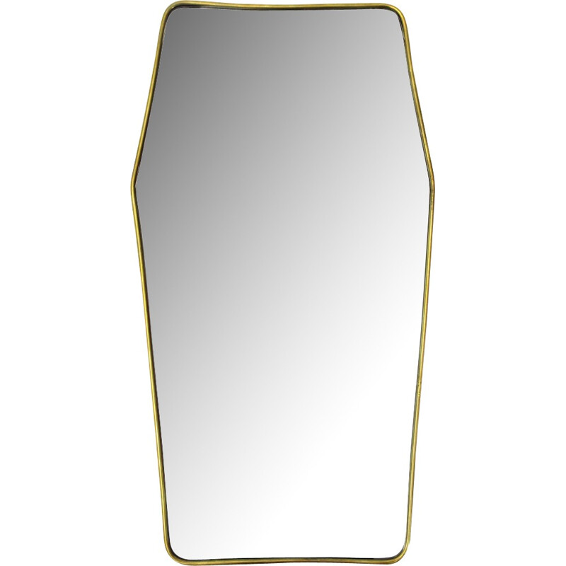 Italian Vintage Wood and brass frame mirror - 1950s