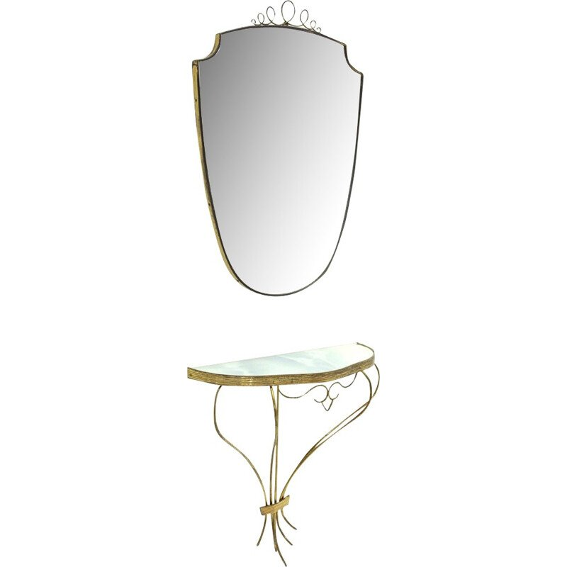 Italian brass Vintage console and mirror - 1950s