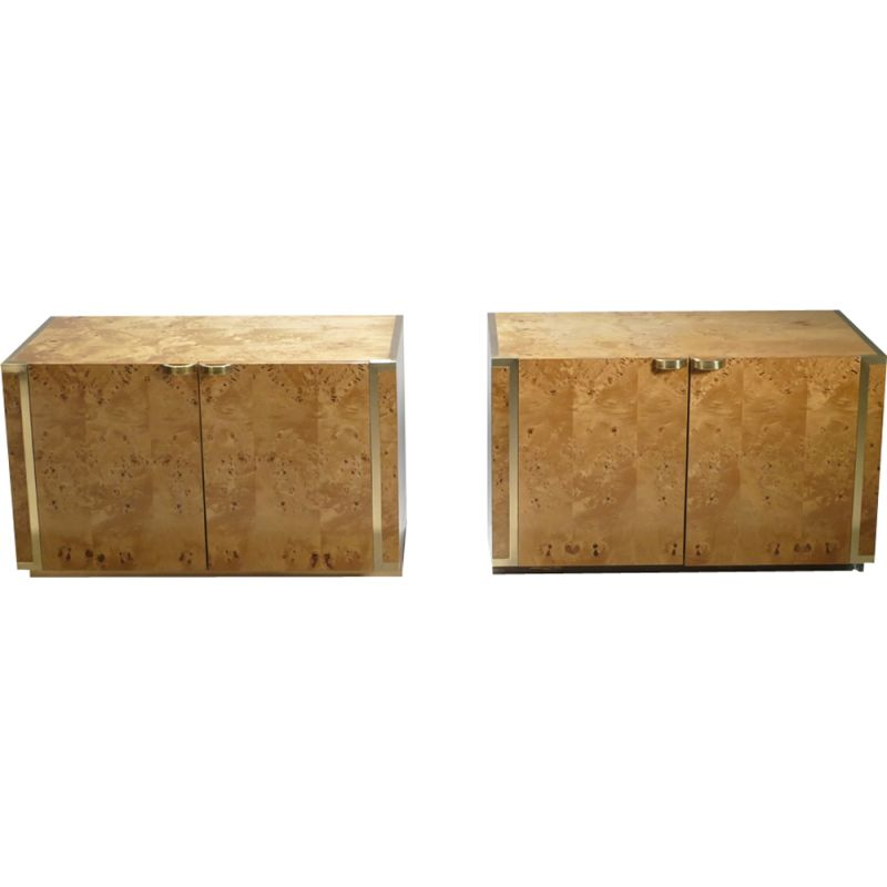 Set of 2 small cabinets in brass and glass by JC Mahey - 1970s