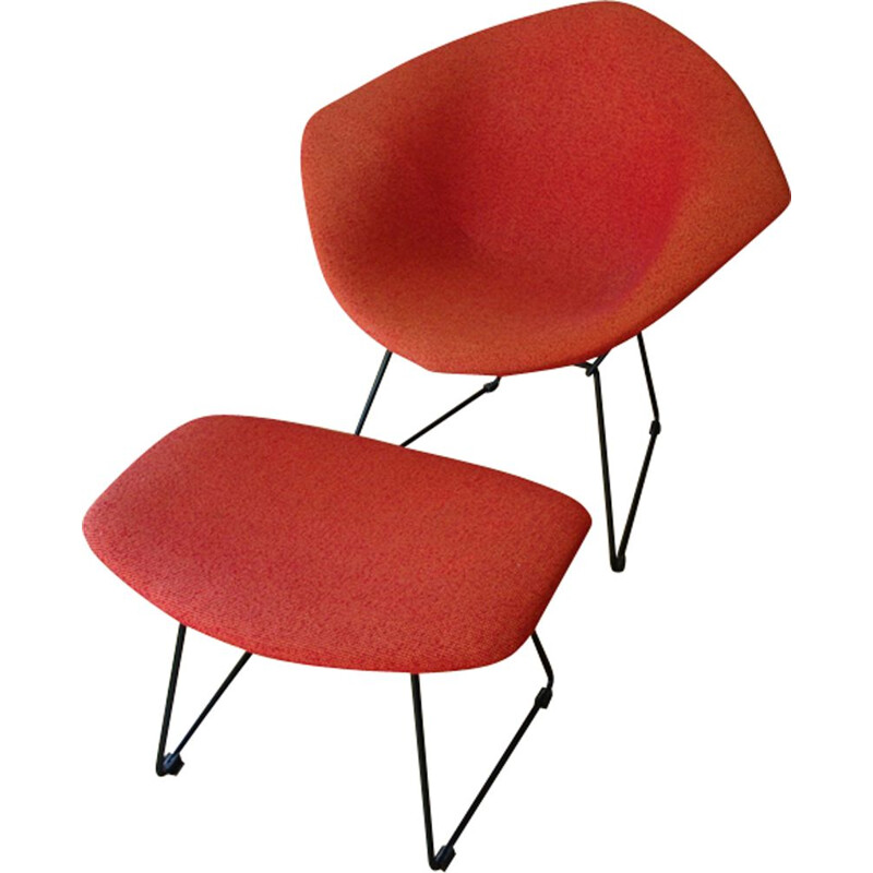 Vintage armchair and ottoman little diamond by Bertoia for Knoll - 1950s