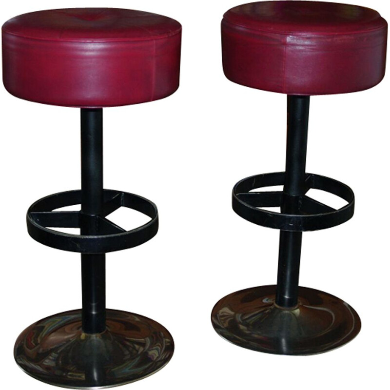 Set of 2 vintage Swiss bar stool in leather and steel - 1960s