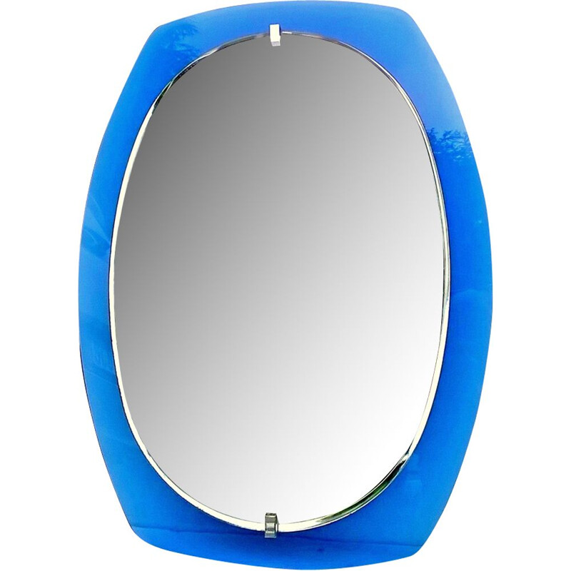 Vintage blue mirror for Veca - 1970s