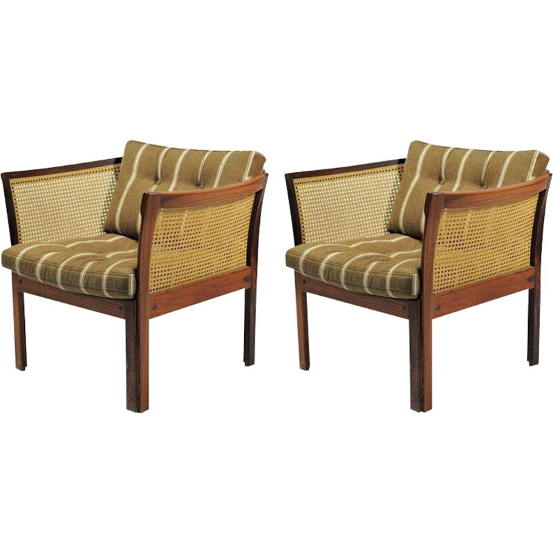 Set of Two Plexus Easy Chairs in Rosewood by  Illum Vikkelso for CFC Silkeborg - 1960s