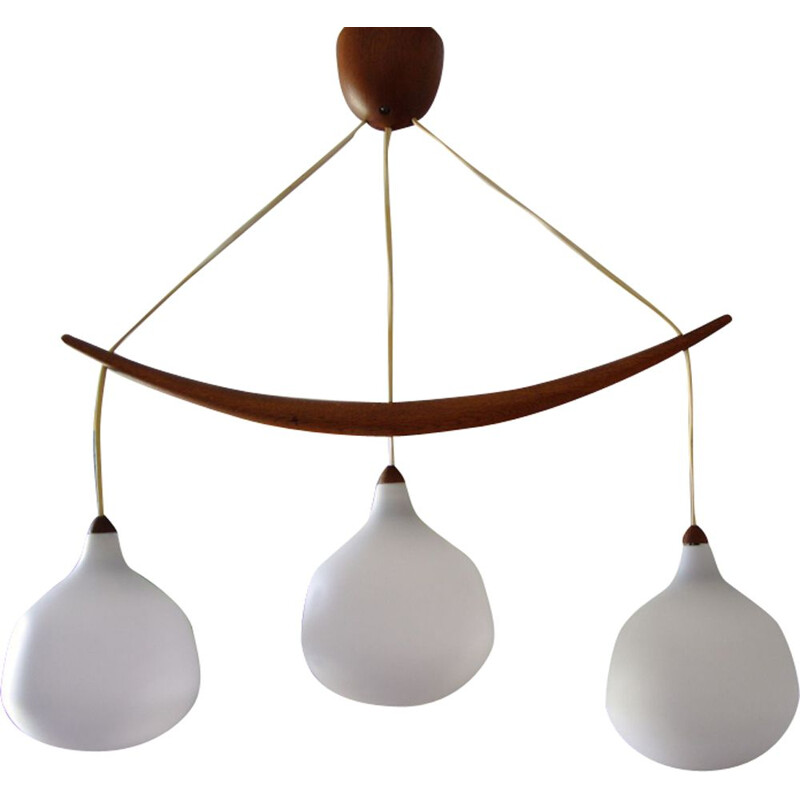 "Vintage Pendant lamp ""Banana"" in teak by Osten Kristiansson - 1950s"