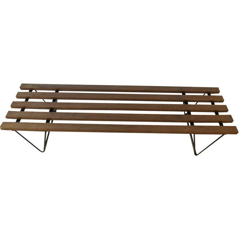 Vintage Metal and Teak Slatted Bench - 1960s
