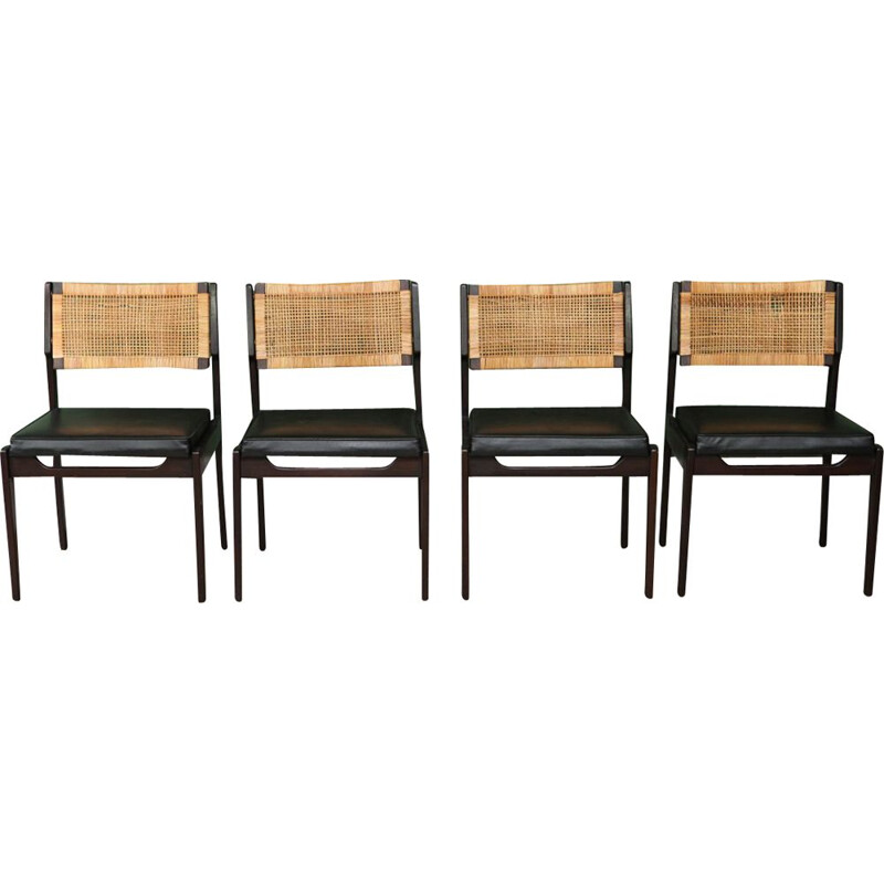 Set of 4 Vintage Rattan Back Dining Chairs by P.J. Muntendam - 1960s