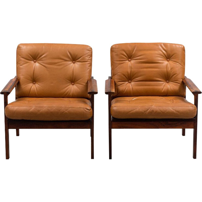 Set of 2 brown armchairs by Illum Wikkelso Capella for Niels Eilersen - 1959