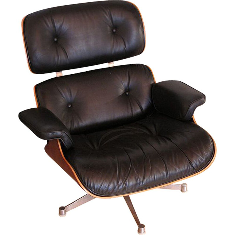 Vintage black lounge chair in leather and rosewood by Eames for Vitra - 1980s