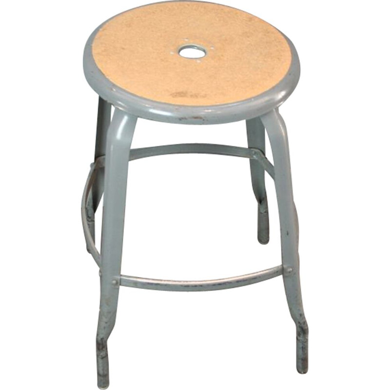 Vintage French industrial stool in metal - 1950s