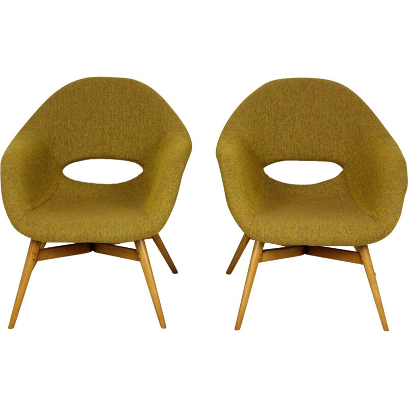 "Set of 2 vintage green ""Shell"" armchair by František Jirak - 1960s"