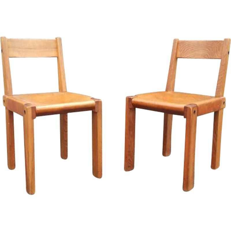 Pair of S24 chairs by Pierre Chapo - 1960s