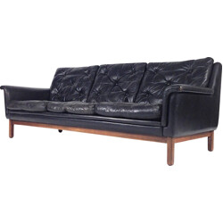 Danish 3-seater sofa in black leather and rosewood, Hans OLSEN - 1950s