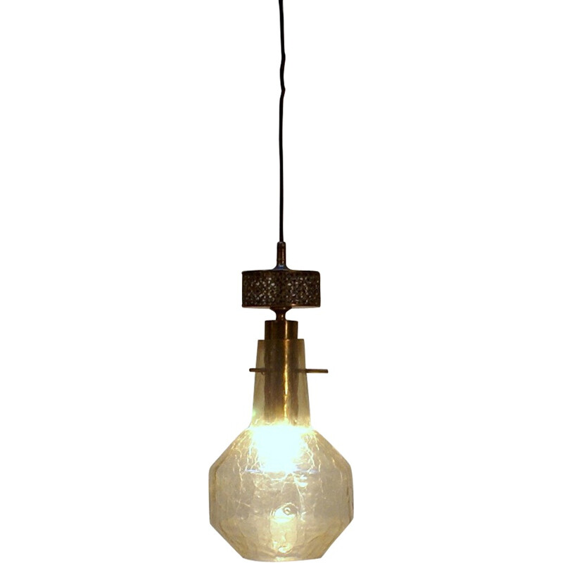Industrial hanging lamp in brass and glass - 1950s