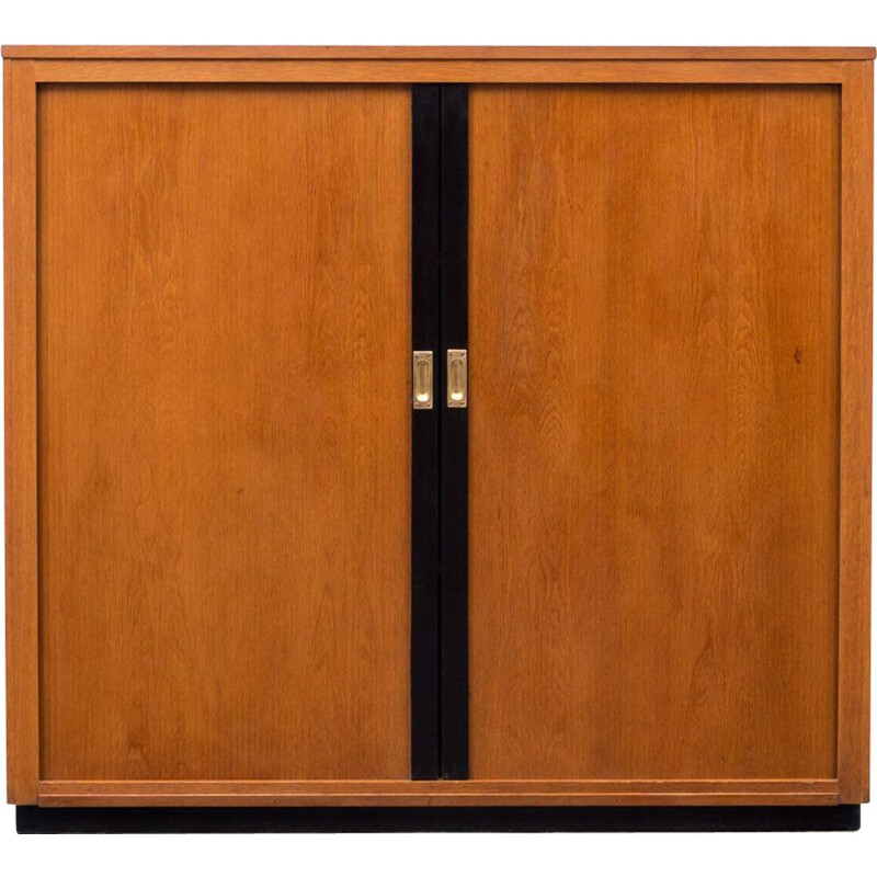 Oak Vintage furniture with sliding doors and brass handles - 1950s