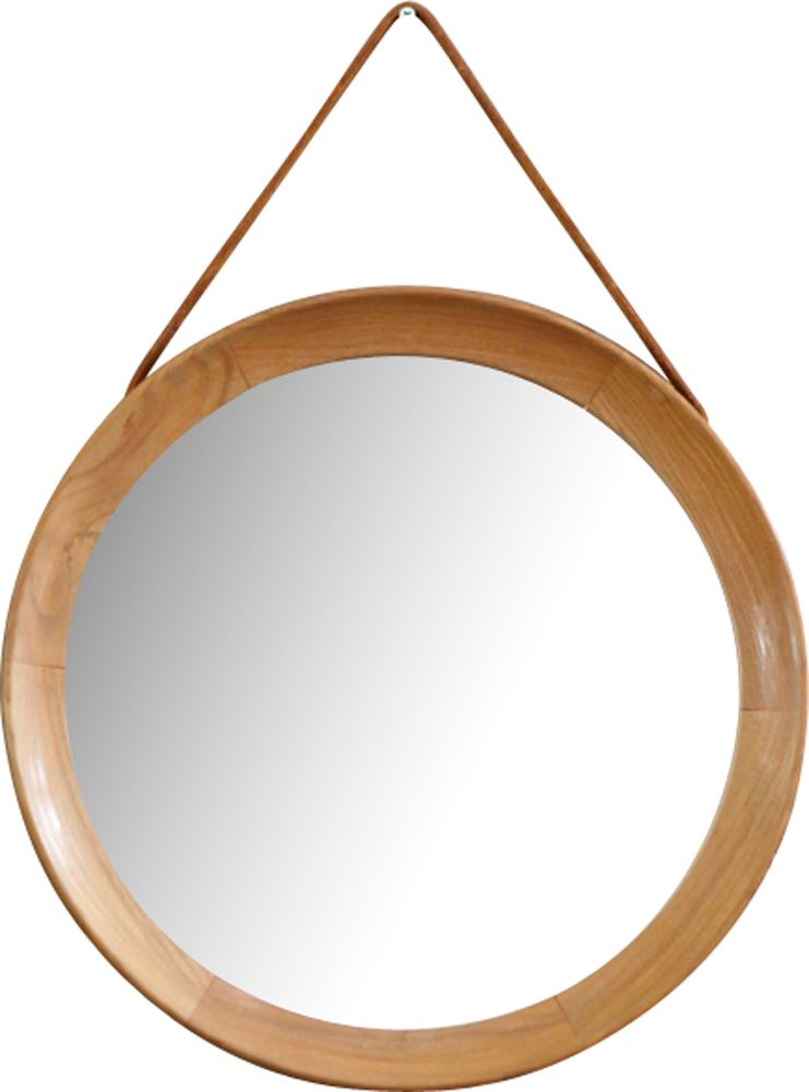 Large Round Mid Century Wooden Mirror With Leather Strap 1960s Previous Next