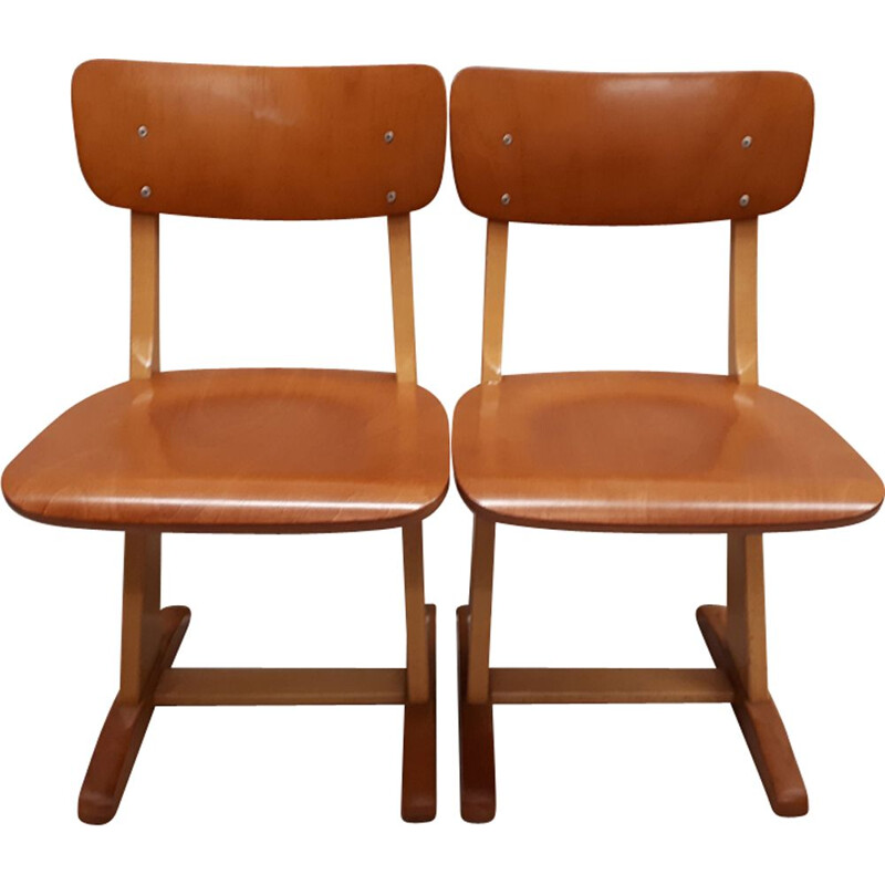 Vintage school chairs in beech for Casala 1950s