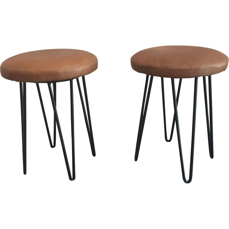 Set of 2 stool Vintage Leather and metal - 1960s
